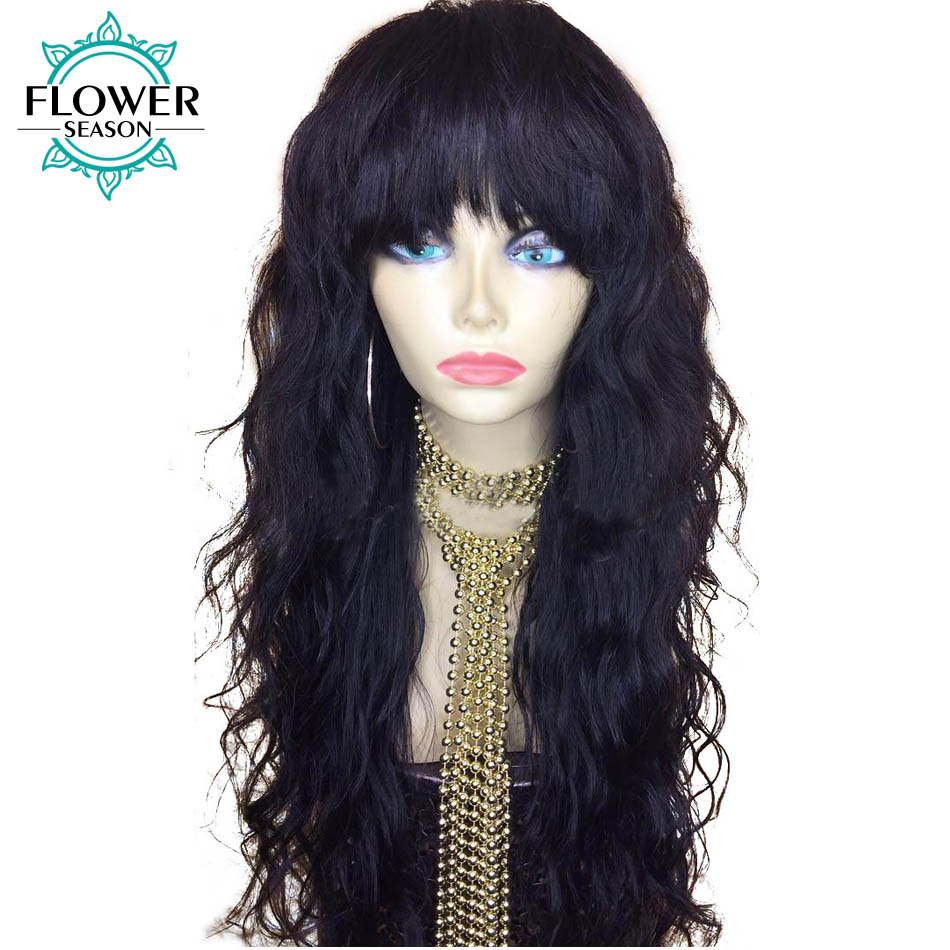 FlowerSeason Wavy Glueless Brazilian Full Lace Human Hair Wigs With Bangs Remy Hair Bleached Knots Natural Color 130% Density