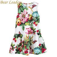 Bear Leader Girls Dress 2017 New Autumn European American Style Floral Pattern Princess Dress Luxury Girl