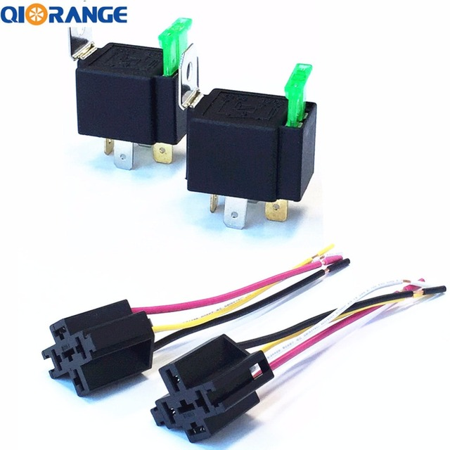 QIORANGE 2 Pack 30A Fuse Relay Switch Harness Set 12V DC 4 Pin SPST Automotive Relays_640x640 qiorange 2 pack 30a fuse relay switch harness set 12v dc 4 pin spst