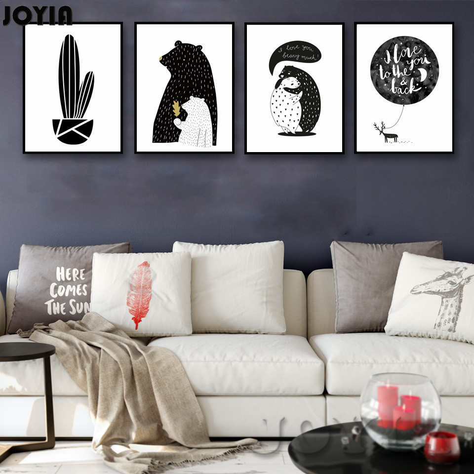 Nordic Baby Bear Cactus Wall Art Canvas Poster Print Minimalist Rhaliexpress: Wall Art For Living Room Black And White At Home Improvement Advice