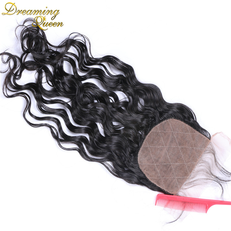ФОТО Brazilian Virgin Hiar Silk Base Closure Water Wave,4x4 Wet And Wavy Silk Base Closures With Baby Hair 7A Grade Silk Top Closure