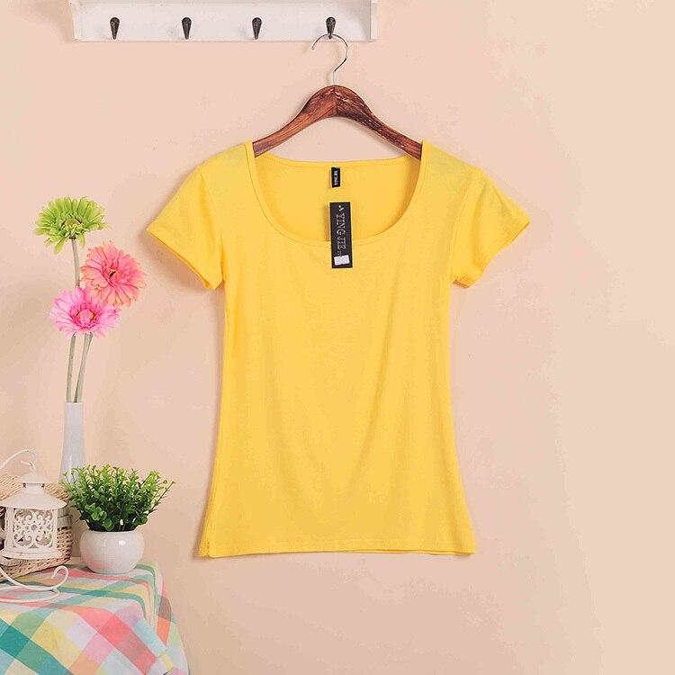 Базовые Стрейчевые топы размера плюс,, Летний стиль, короткий рукав, футболки для женщин, u-образный вырез, хлопок, женские футболки, повседневные футболки - Цвет: W00630 yellow