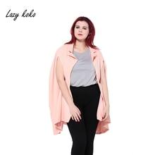 Lazy KoKo Plus Size Autumn Longline Blazer Solid Champagne Split Sleeve None Breasted Coat Loose Blazer Coat Large Size 3XL-6XL