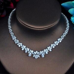 Image 3 - HIBRIDE Conjuntos de joyería femenina de circonia cúbica transparente con forma de flor, conjunto de collar y pendientes para regalos de fiesta de boda, N 217