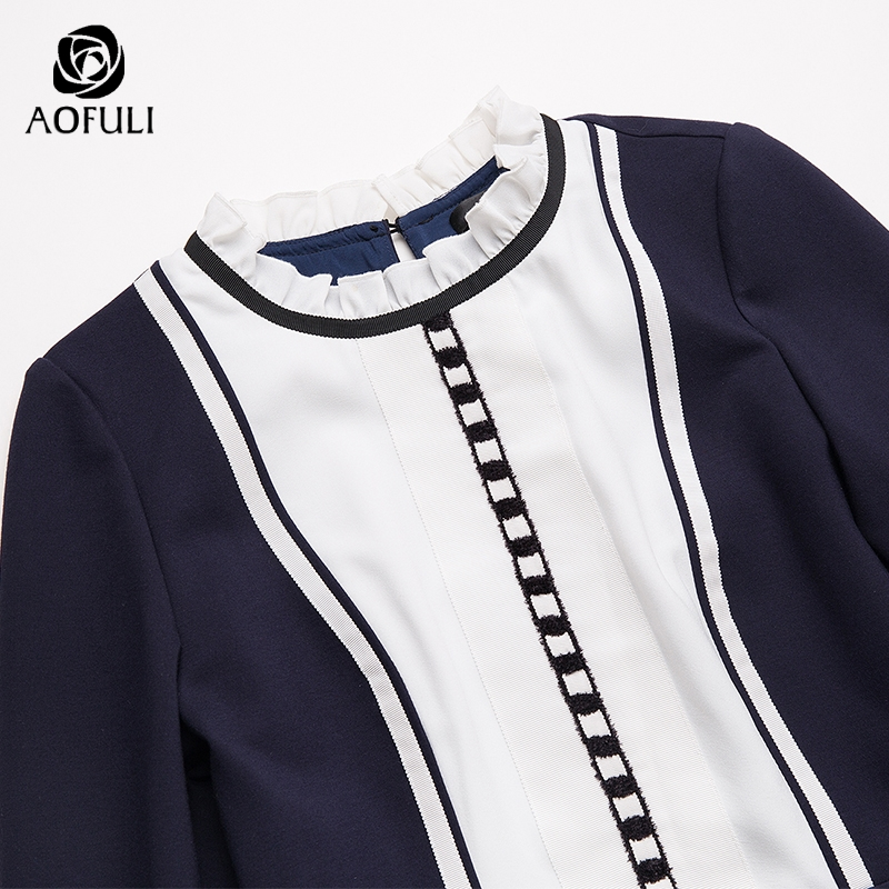 4xl Vestito Big Aofuli S 9027 xxxl Design Bianco Lunga Manica Blu Women Hit Size Patchwork Aderente Dress Primavera Colore Contrasto 5xl qUnURvra