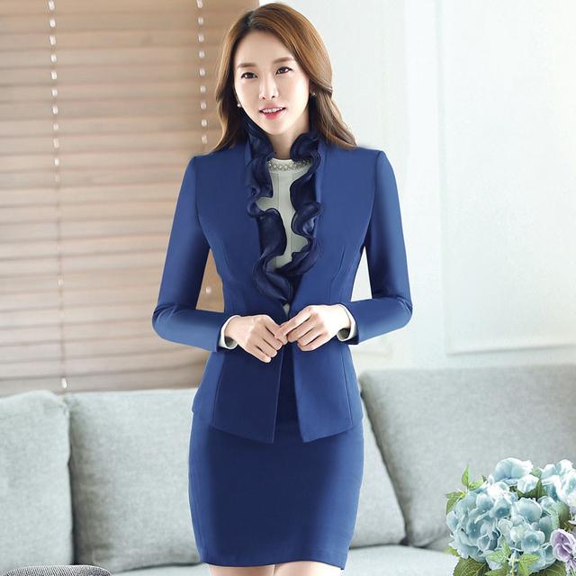 2017 Nova Coreano Moda Projetos Uniformes Escritório Mulheres Ruffles Skirt ternos 2 Peça Set Mulheres de Negócios Blazer & Senhoras Saia terno