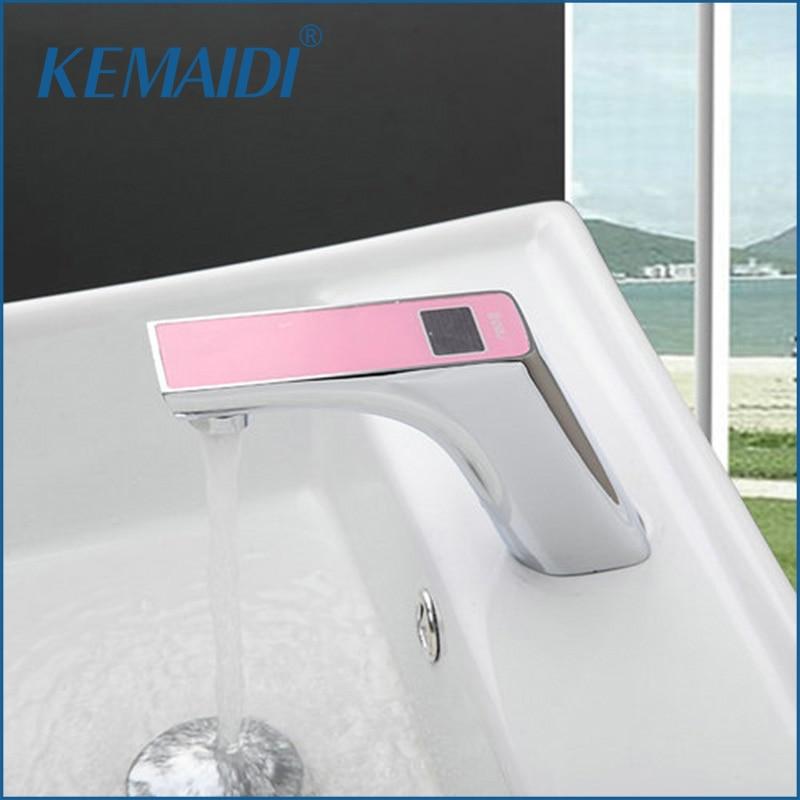 KEMAIDI Pink Sensor Torneira Digital Display Temperature Bathroom Automatic Hand Touch Sensor Basin Chrome Sink Tap Mixer Faucet digicom portable cube speaker system for ipod