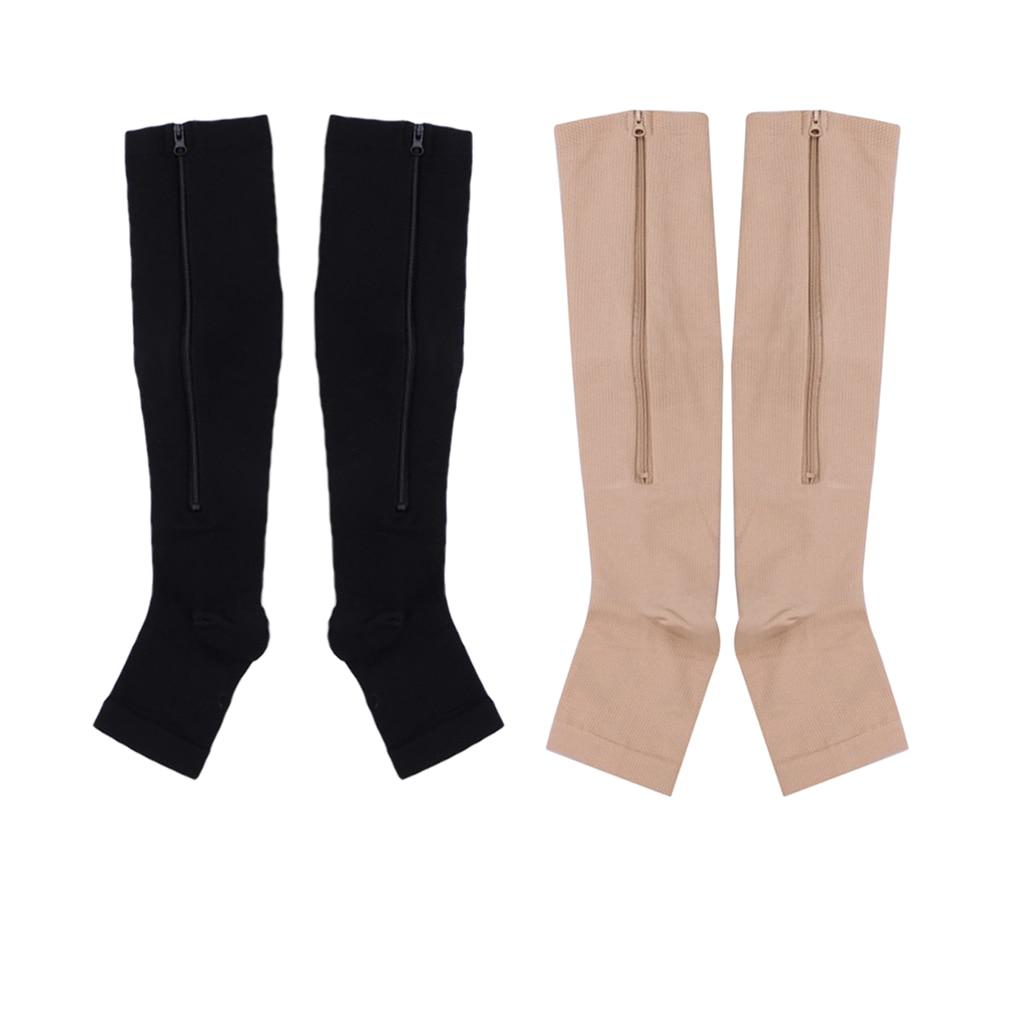 Hot Sale Nylon Zipper Compression Sock Leg Knee Support Open Toe Preventing Varicose Veins Stretch Socks