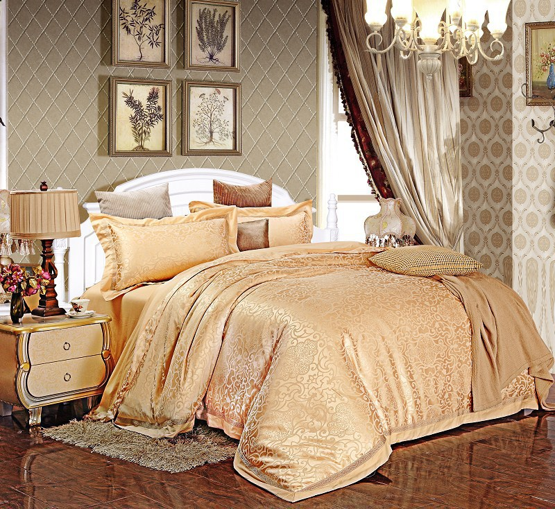 Wedding Jacquard Gold King Bedding Set Bed Set Silk Luxury Comforter Sets Queen Home Textile