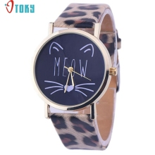 Watch OTOKY Willby Cute Meow Cat Face Watch Leopard PU Leather Quartz Wrist Watches 161213 Drop Shipping