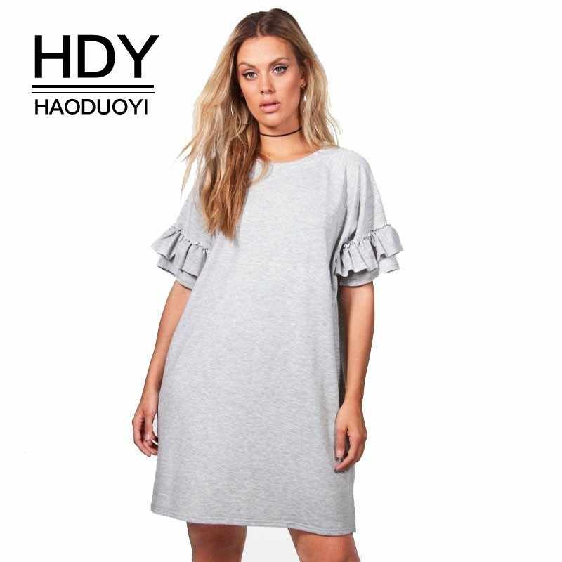 HDY Haoduoyi женское однотонное платье-футболка больших размеров с круглым вырезом, с оборками с коротким рукавом, повседневное праздничное мини-платье 3XL 4XL 5XL 6XL