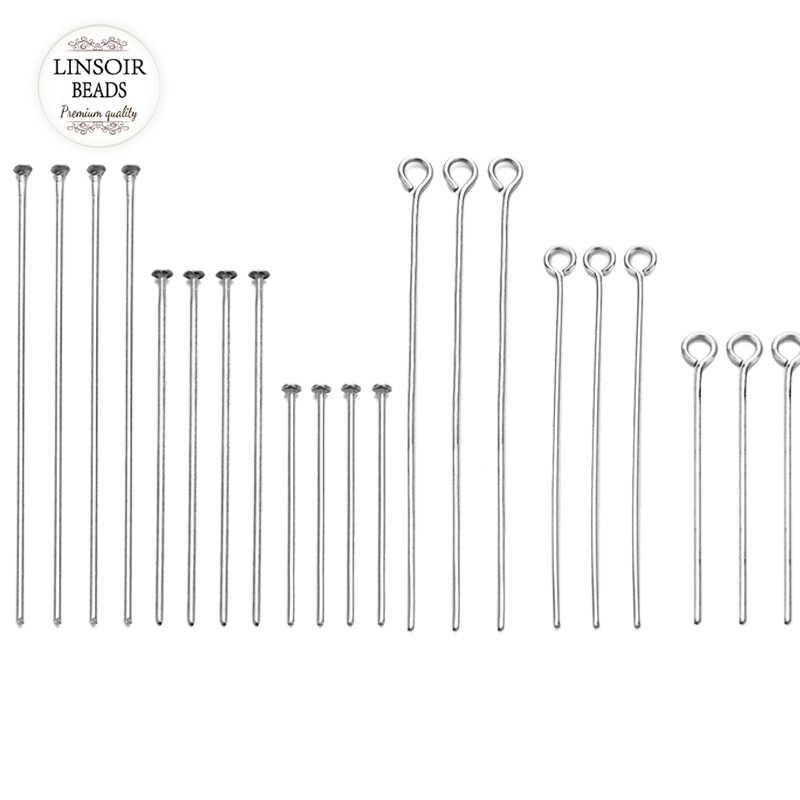 100 Buah 20 30 40 50 60 70 Mm Stainless Steel Kepala Mata Kepala Pin untuk Membuat Perhiasan grosir Aksesoris Perlengkapan