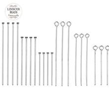 Épingle à tête plate en acier inoxydable, 100 pièces, 20 30 40 50 60 70mm, pour la fabrication de bijoux, accessoires, vente en gros