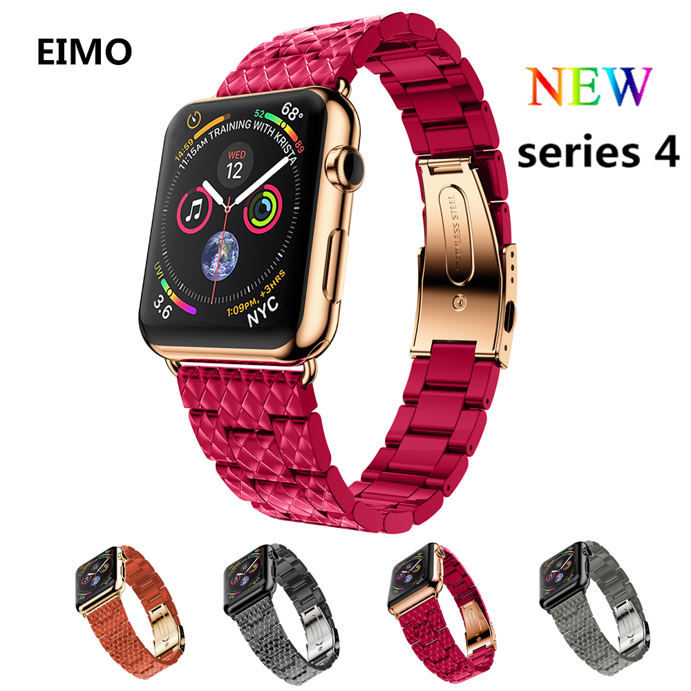 Stainless steel strap for apple watch band 4 44mm 40mm iwatch bands series 4/3/2/1 42mm 38mm Link bracelet watchband wrist belt case link bracelet strap for apple watch 4 3 2 1 44mm 40mm band stainless steel metal buckle watchband iwatch series 42mm 38mm