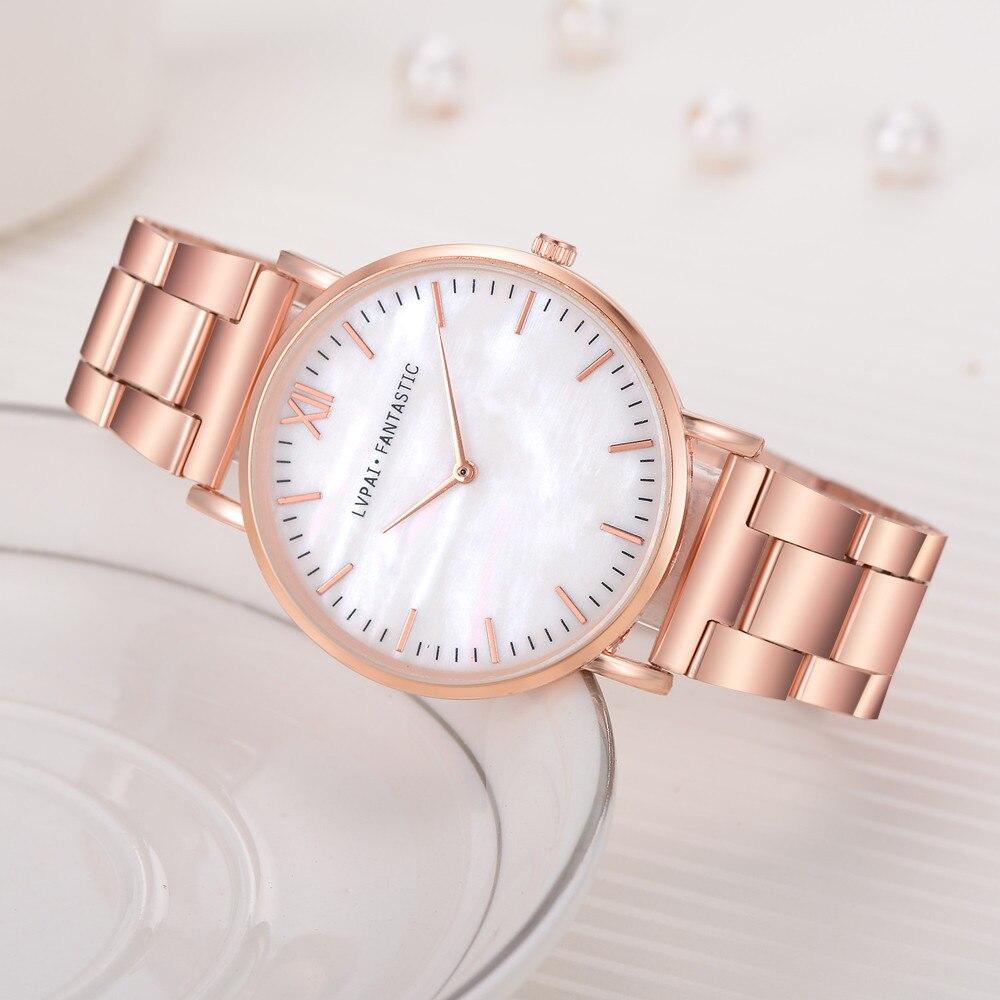 Lvpai Women Watches Stainless Steel Brand Fashion Ladies Wristwatch Creative Quartz Clock Retro Simple Cheap Luxury Watch