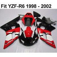 עבור Yamaha YZF R6 98 99 00 01 02 R6 1998-2002 ערכת חרטום להריון ולידה FB-72 אדום לבן מעטפת אופנוע שחורה סט
