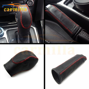 1Pc Leather Shift Knob Cover Gear Head Covers Hand Brake Cover for Ford Focus 3 MK3 AT LHD 2012 Black with Red Line Accessories