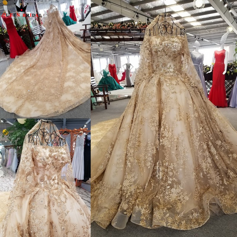 Empire Fluffy Short Sleeve Wedding Dresses Golded Lace Crystal Beaded Luxury Wedding Gowns Bridal Gown 2019 Real Photo WD01