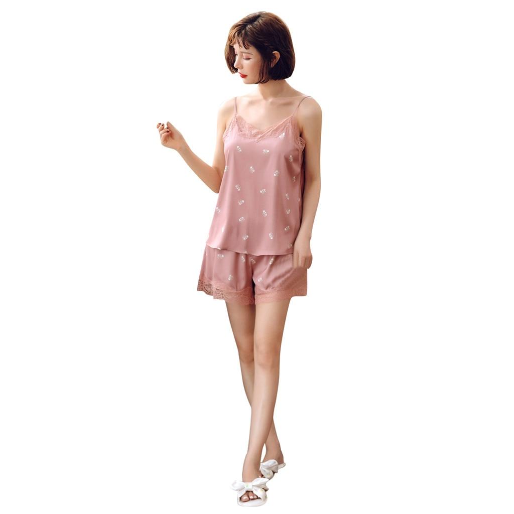 Women's Sleepwear Sexy Print V-Neck Lace Patchwork Backless Sling Nightwear Shorts Pajama Sets Conjunto de pijama de pijama #E