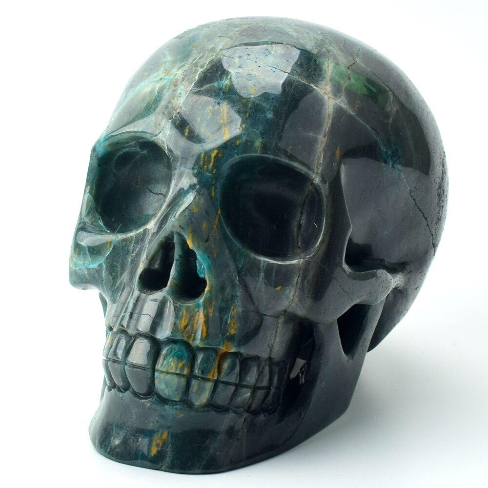 Crâne de grande taille 6 ''sculpté à la main pierre de phénix naturel réaliste guérison cristal crâne Figurine Unique Statue de crâne Feng Shui