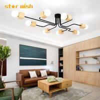 Modern Nordic wood chandelier 4 6 8 head wooden hunging bedroom lamp for home living room bedroom decoration 110v 220v E27