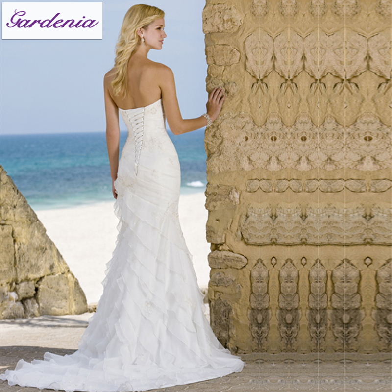 Latest Design Ivory Sweetheart Sexy Open Back Crystal Beaded Organza Long  Tail Mermaid Corset Rhinestone Wedding Dress (WD147)-in Wedding Dresses from  ... 8dc4a3a5dd86
