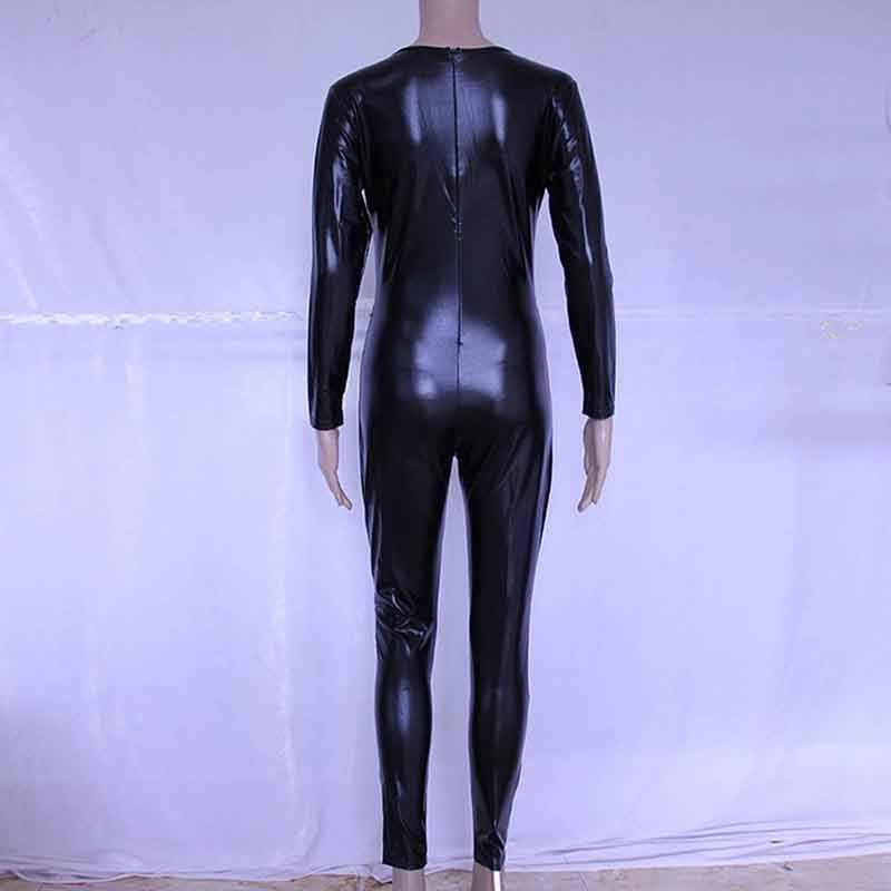 Mono Sexy de manga larga de piel sintética de vinilo de Wetlook negro de PVC brillante para mujer