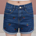Hot 2016 High Waist Denim Shorts Women Summer Fashion Jeans Shorts Femme Casual Printed Women Short Jeans Bermuda Feminina