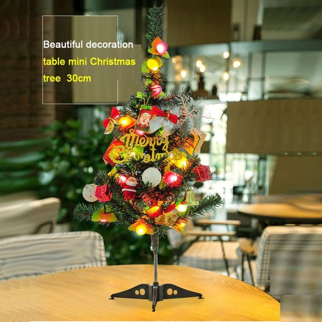 mini christmas tree for desktop decor merry christmas tree with small ornament light string kid gifthome