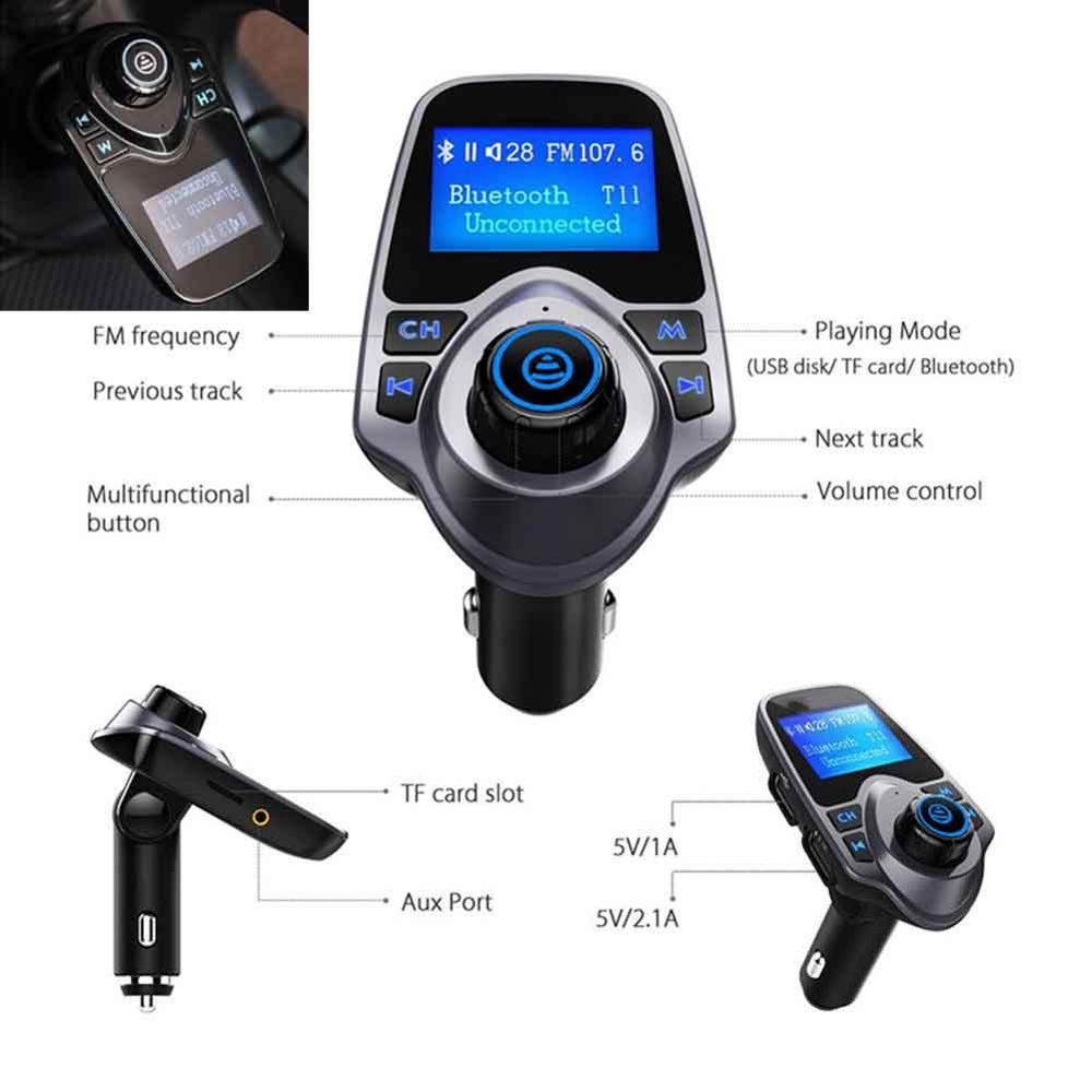 US $12 34 5% OFF|Bluetooth Car Audio Kit Handsfree Set FM Transmitter  Vehicle MP3 Music Player Wireless Modulator Car Charger Support Flash  Drive-in