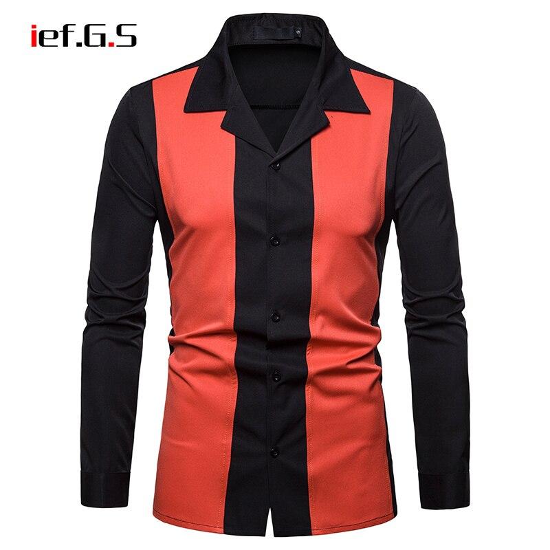 IEF.G.S men casual stripe shirt long sleeve slim fit hawaiian formal