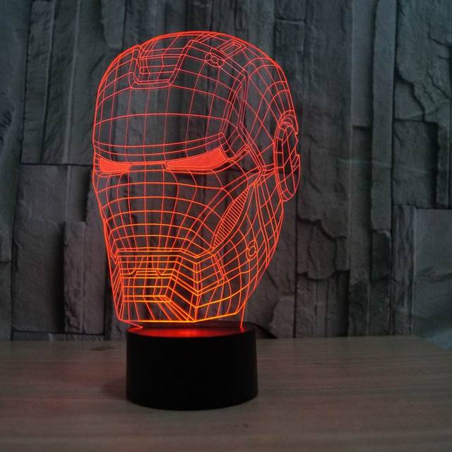 3D illusion night light iron man mask shape LED table lamp as gift free shipping  FS-2822