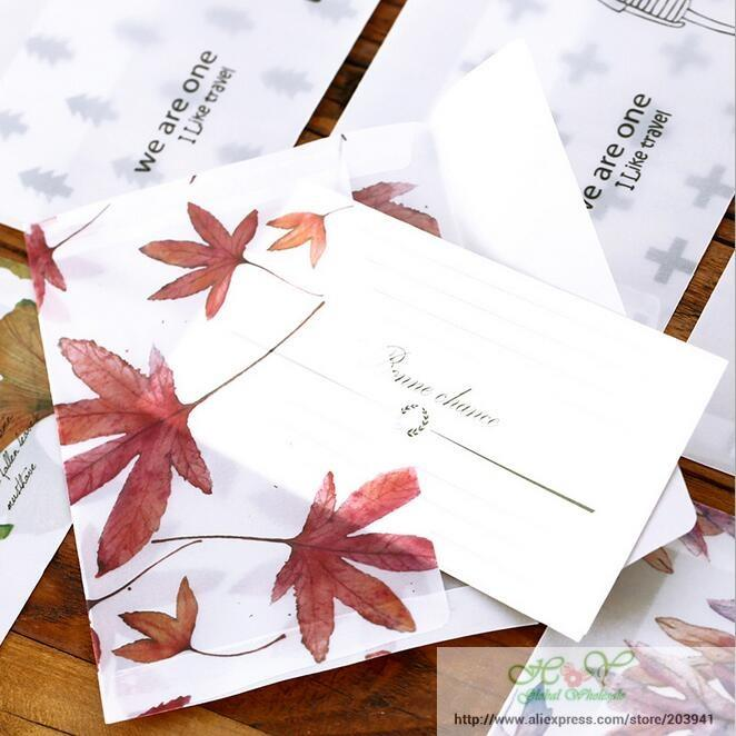 96pcs/lot New Cute Leaves Series Transparent Sulphuric Acid Paper Frosted Envelop Envelop For Invitation Card Wholesale160*110mm