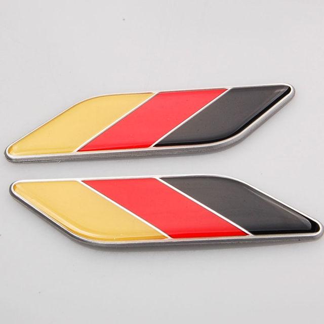 BBQ@FUKA 2Pcs Car 3D Germany Flag Sticker Fender Emblem Badge Decal Aluminum+ Epoxy Fit VW Golf Polo Passat Bora CC MK etc