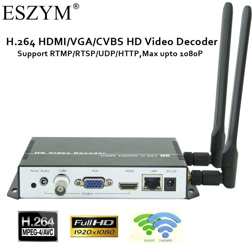ESZYM H.264/AVC Wireless Video Decoder with HDMI&VGAI&CVBS output support RTMP/HTTP/RTP/UDP/RTSP/HLS/FLV/M3U8 1080p 1080i h 264 hdmi vga cvbs decoder hd sd video audio ip streaming decoder http rtsp rtmp udp hls to hdmi vga cvbs receiver