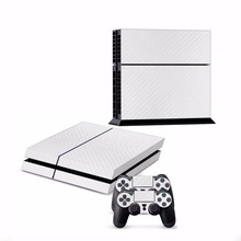Cewaal Skin Decal White Textured Carbon Fiber Sticker For PS4 Video Game Console Gamepad Gaming Controller