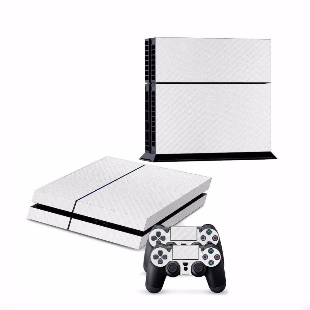 Cewaal Skin Decal White Textured Carbon Fiber Sticker For PS4 font b Video b font font