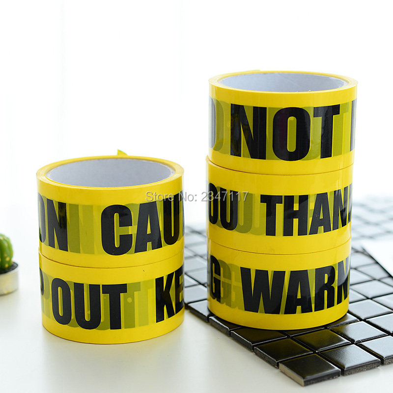 Free Ship Black And Yellow Color Warning Tape Identification
