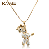 New Arrival Shiny Austrian Crystal Wood Horse Design Real Gold Plated Pendant Chain Necklace Jewelry For