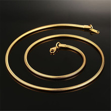 3MM Wide Stainless Steel Round Snake Chain Gold Silver Chain Necklace For Men Jewelry 50CM/60CM недорого
