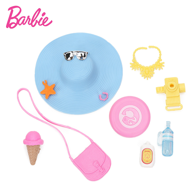Original Barbie Accessories With Blue Hat Bag Shoes For Barbie Doll Toys Fashion Jewelry Necklace Crown Accessory Set FND48