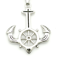 Charm Silver Cross Ox Horn Anchor Pendant Necklace For Men Women 316L Stainless Steel Fashion Unisex