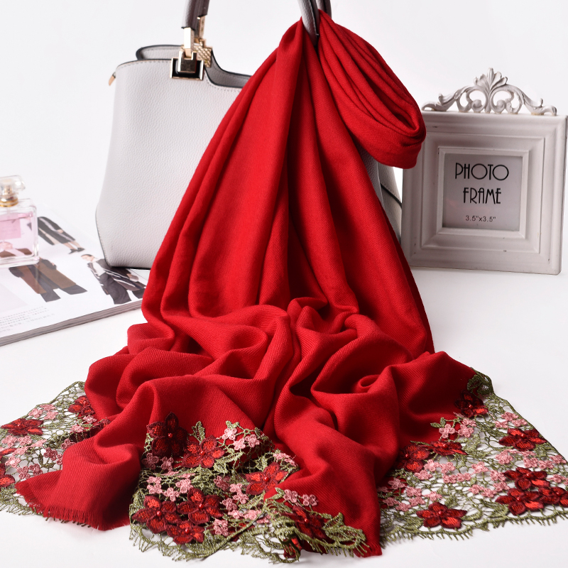 Bride Embroidered Scarf Wool Women Luxury Shawls and Wraps for Wedding Festive Winter Shawl Pashimina Ladies