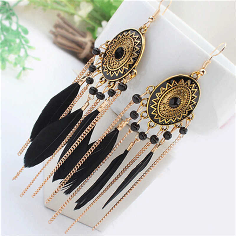 ZOSHI 2019 Long Tassel Fashion Feather Style Ethnic Boho Big Dangle Statement Earring Wedding Earrings Accessories Wholesale