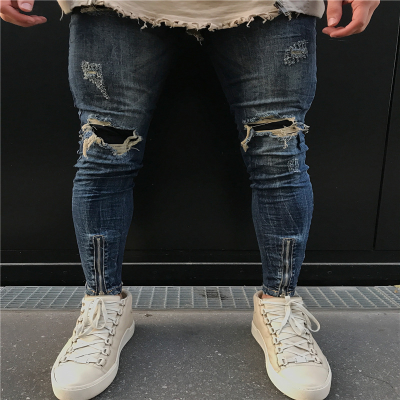 HOT 2019 Fashion Casual Men jeans fold knee ripped hole Distressed placemat ankle zipper foot men's trousers biker jeans