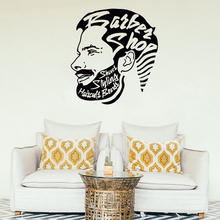 Barbershop Wall Stickers Removable Vinyl Art Decals  Man Salon Haircut Style Interior Decoration AY1873