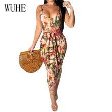 WUHE Summer Women Bohemian Beach Vintage Dress Femme Sexy Deep V Neck Sleeveless Bodycon Bandange Slim Pencil Jurken Zomer