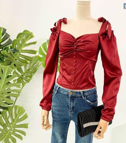 Shirt Vintage Bustier Princesse Style Ruché Mince Corset Femininas Ss2018 Noir Halter Haut Sexy Silhouette De blanc Chemisier rouge Femmes Cloué Blusas awAd4qO