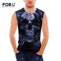 FORUDESIGNS Vintage Punk Skull Printed Men S Tank Top Summer Sleeveless Fitness Tee Shirt For Man