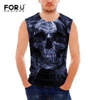 FORUDESIGNS Vintage Punk Skull Printed Men S Tank Top Summer Sleeveless Fitness Tee Shirt For Man